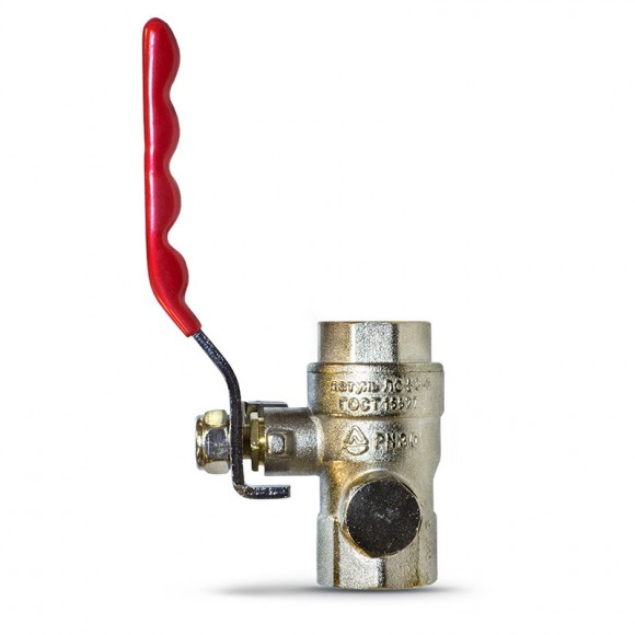 Кран шаровый со спускным устройством для манометра (под манометр) М20х1,5-G1/2, G1/2-G1/2