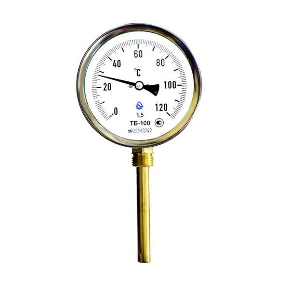 Термометр биметаллический радиальный ТБ-100 (ТБ 100, ТБ100, ТБУ-100, ТБП-100)